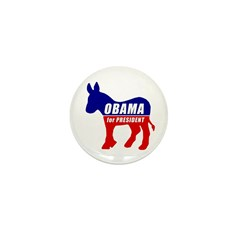 Obama Democrat Donkey Mini Button (10 pack)