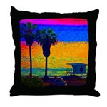Beach Campground Throw Pillow