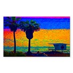 Beach Campground Rectangle Sticker 50 pk)