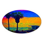 Beach Campground Oval Sticker