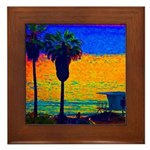Beach Campground Framed Tile