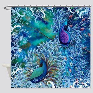 Exotic Birds Peacock Print Shower Curtain
