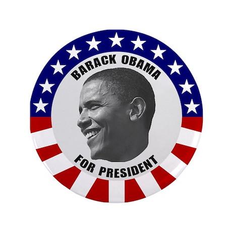 """Classic Black & White Obama 3.5"""" Button"""