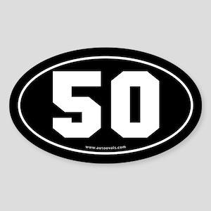 #50 Euro Bumper Oval Sticker -Black