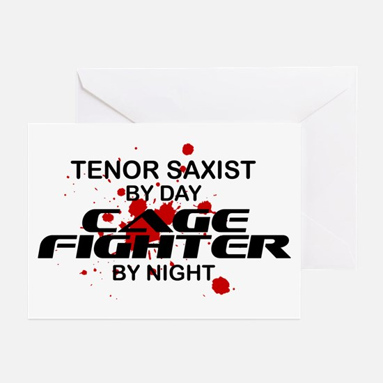 Tenor Sax Cage Fighter by Night Greeting Cards (Pk