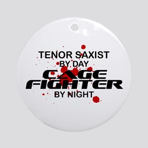 Tenor Sax Cage Fighter by Night Ornament (Round)
