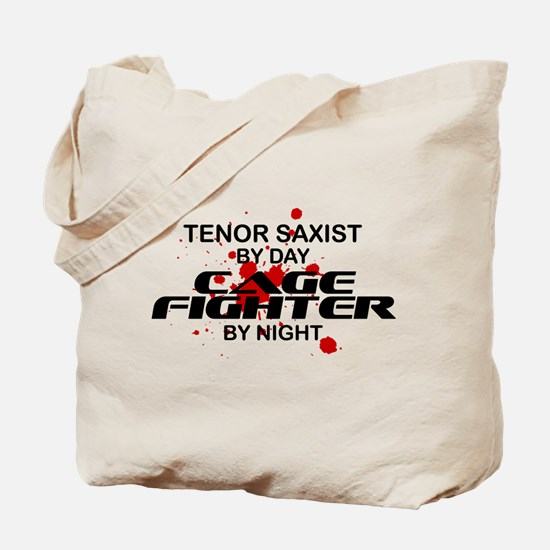 Tenor Sax Cage Fighter by Night Tote Bag