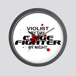 Violist Cage Fighter by Night Wall Clock