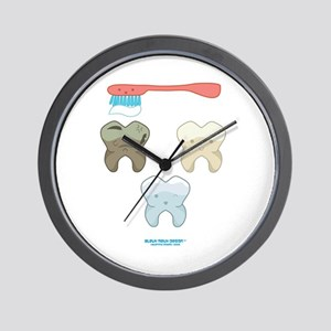 Kawaii Teeth Trio Wall Clock