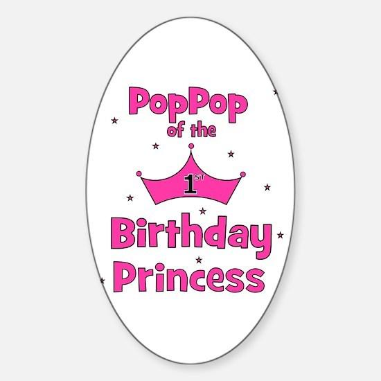 1st Birthday Princess's PopPo Oval Decal