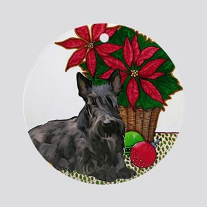 Scotty and Poinsettia Ornament (Round)