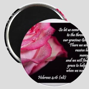 Hebrews 4:16 Passion Rose Magnets