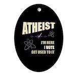 Atheist I Vote Oval Ornament