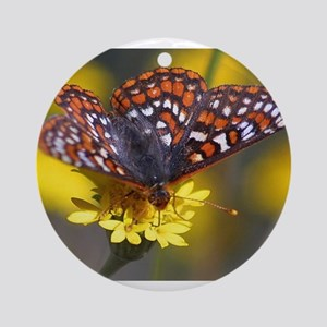 Butterfly on Yellow Flower Ornament (Round)
