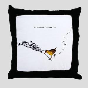 Clapper rail mad dash Throw Pillow