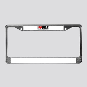 I Love War License Plate Frame