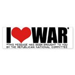 I Love War Bumper Sticker (10 pk)