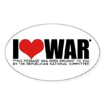 I Love War Oval Sticker (10 pk)