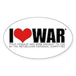 I Love War Oval Sticker (50 pk)