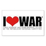 I Love War Rectangle Sticker 50 pk)
