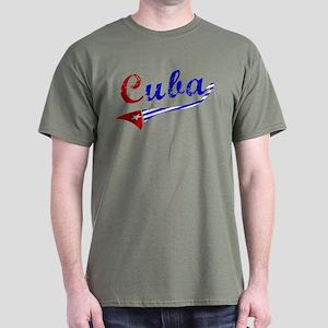 Cuba Flag Distressed Dark T-Shirt
