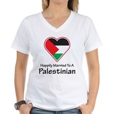 Happily Married Palestinian Women's V-Neck T-Shirt