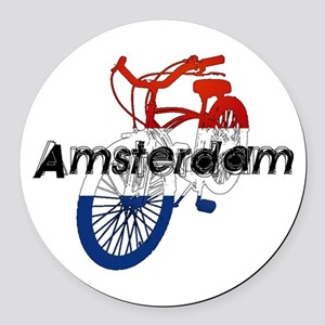 Amsterdam Bicycle Round Car Magnet