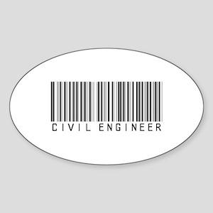 Civil Engineer Barcode Oval Sticker