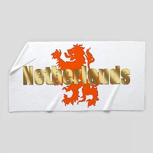 Netherlands Orange Lion Beach Towel