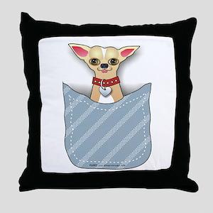 Blue Pocket Chihuahua II Throw Pillow
