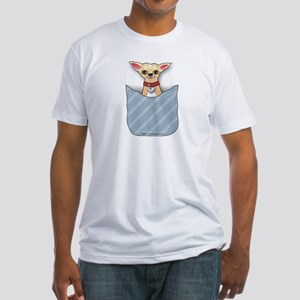Blue Pocket Chihuahua II Fitted T-Shirt