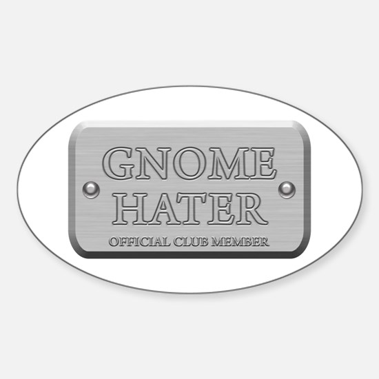 Brushed Steel - Gnome Hater Oval Decal