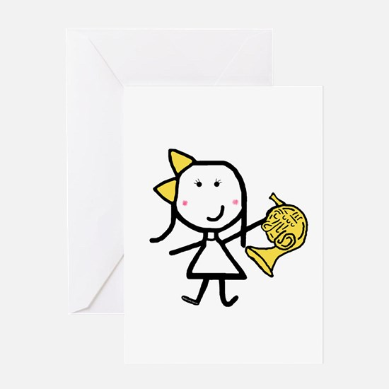 Girl & French Horn Greeting Card