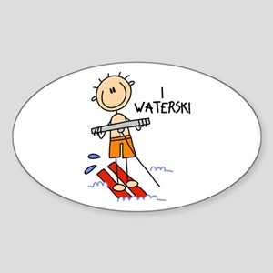 I Waterski Oval Sticker
