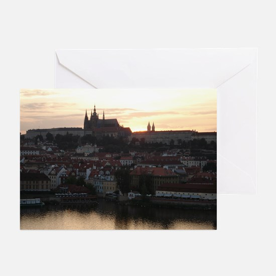 Prague Castle at Sunset Greeting Cards (Pk of 10)
