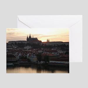 Prague Castle at Sunset Greeting Card