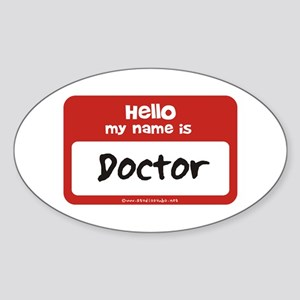 Doctor Name Tag Oval Sticker