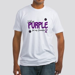 I Wear Purple For My Grandpa 14 Fitted T-Shirt