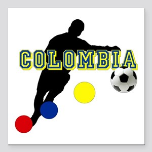 """Columbia Soccer Player Square Car Magnet 3"""" X"""