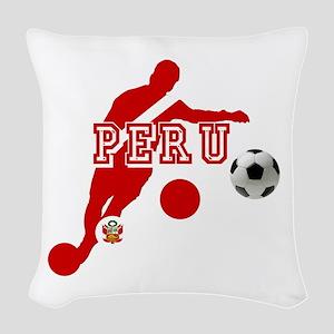 Peru Football Player Woven Throw Pillow