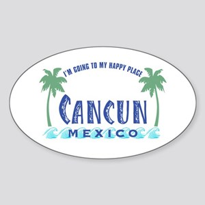 Cancun Happy Place - Oval Sticker