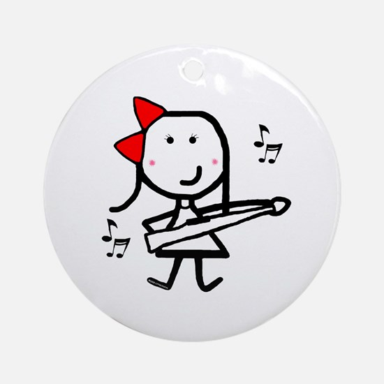 Girl & Marching Rifle Ornament (Round)
