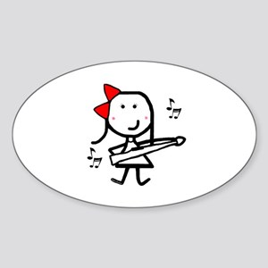 Girl & Marching Rifle Oval Sticker