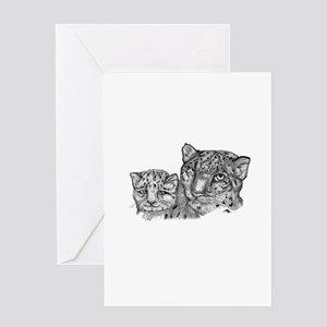 snow leopard mom and cub Greeting Card