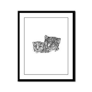 snow leopard mom and cub Framed Panel Print