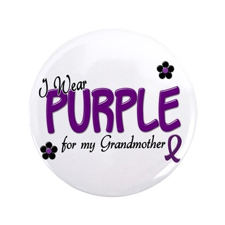 "I Wear Purple For My Grandmother 14 3.5"" Button (1"