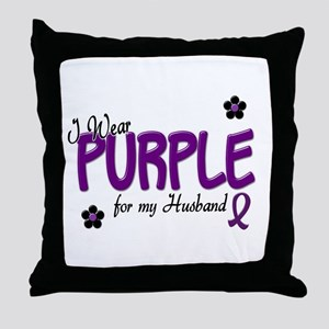 I Wear Purple For My Husband 14 Throw Pillow