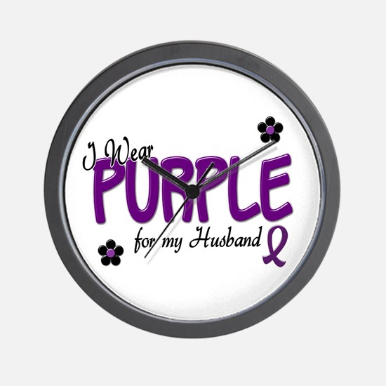 I Wear Purple For My Husband 14 Wall Clock