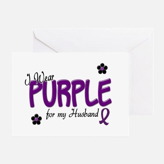 I Wear Purple For My Husband 14 Greeting Card