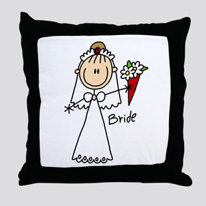Stick Figure Bride Throw Pillow